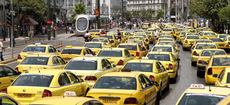 Taxis at Athens City Center